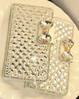 For Mobile Phone Bling Crystals Lovely Bow Wallet Leather Slot Cards Cover Case