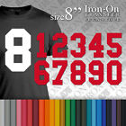 """Iron-on Plain Solid SPORT Numbers Transfer Size 8"""" Vinyl for T-Shirt Football"""