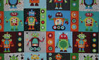 Robot Gearheads Blue & Red Boys Patch Fabric Cotton Fabric BTY or HY t6/26