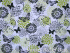 Lime Green Gray Black Flower Bursts Butterfly Glamour Girl Cotton Fabric a1/40
