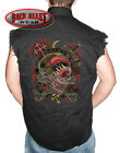 HORNED SKULL w/ Flames Sleeveless DENIM Shirt Biker Gothic Crosses Daggers