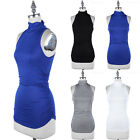 Mock Neck Ruched Sides Sleeveless Tank Top Casual Easy Wear Rayon Span S M L