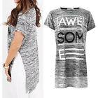New Women's Ladies Side Slit Split Awesome Beaded Print Slogan T-Shirt Top 8-14