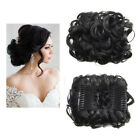 Women Combs Clip In Elastic Net Curly Hair Bun Chignon Updo Cover Hair Extension