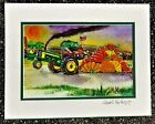 Tractor Pulling Giant Pumpkin Art Print John Deere Sled Garden Farm Country Fair