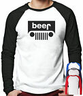 BEER JEEP LONG SLEEVED BASEBALL T-SHIRT FUNNY SLOGAN GIFT DRINKING OFFROAD