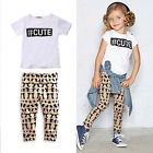 Fashion Baby Toddler Kid Girls Clothes T Shirt Top + Pants 2PCS Outfits Set 0-5T