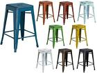 "24"" High Backless Distressed Metal Indoor Counter Height Stool w Square Seat"