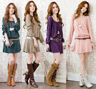 Fashion Women Long Sleeve Casual Belted Loose Party Evening Cocktail Mini Dress