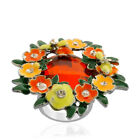 DRAGONFLY FLORAL FLOWER ORANGE GREEN YELLOW RING GLASS AUSTRIAN CRYSTALS 7 8 9