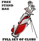 Driver 3-Wood 24° Hybrid 5-6-7-8-9-PW Oversize Irons Complete Set Full Stand Bag