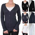 Button Down Long Sleeve Solid V Neck Cardigan Casual Easy Wear Rayon Poly S M L