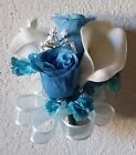 Aqua Blue Rose Real Touch Calla Lily Corsage or Boutonniere
