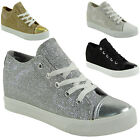 NEW LADIES LACE UP GLITTER RUNNING TRAINERS WOMENS LOW HEEL WEDGE SHOES SIZE