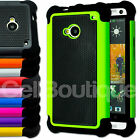 HARD ARMOURED SHOCKPROOF SKIN CASE COVER FOR HTC ONE M7 M8 SCREEN PROTECTOR