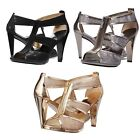 Michael Kors Womens Berkley T Strap Open Toe Front Zip Dress Fashion Heels Shoes