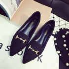 Women Fashion Suede Pointy Toe Metal Buckles Chain Oxfords Flats Shoes Comfy 4-9