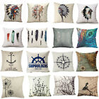 Retro Tribe Feather Pattern Cotton Linen Pillowcase Sofa Waist Cushion Cover