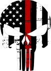 Punisher Skull American Flag CHERRY RED Line Decal - Various Sizes & materials
