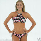 NEW CHARLOTTE High Neck Bikini Tank Top / Loop Tie Side Bottom Black Floral