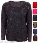Womens Floral Sequin Lace Long Sleeves Tunic Tops Ladies Blouse Plus Size 16-22