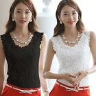 Women Sexy Clothes Hollow Out Lace Floral Tight T-Shirt Blouse Tank Tops Vest