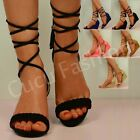 NEW WOMENS LACE UP WEDGE LOW HEEL LADIES ANKLE STRAP SANDALS SHOES SIZE UK 3-8