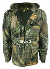 New Mens Camouflage Tree Print Fleece Hooded Hunting Jacket Shooting Fishing