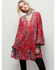 BLOGGER FAV VTG RED BOHO FLORAL RETRO PRINTED CROCHET LACE WEDDING TUNIC DRESS