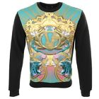 Versace Jeans Body Print Tiger Sweatshirt Jumper In Black And Pure Mint Green