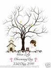 PERSONALISED A3 OR A4 Finger Print Tree CHRISTENING Boy or Girl INCLUDES INK PAD