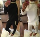 Women Ladies Quilted Luxury Diamond Diamanté Necklace Lounge Tracksuit Suit 8-14