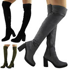NEW WOMENS LADIES THIGH HIGH OVER THE KNEE LONG HIGH CUBAN HEEL BOOTS SHOES SIZE