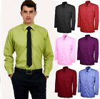 Mens Plain Office Shirt Formal Casual Premium Poplin Full/Long Sleeve All Sizes