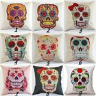 Colorful Horriber Skull Cotton Linen Pillow Cases  Sofa Throw Cushion Covers