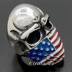Men's Large American Flag Mask Skull 316L Stainless Steel Biker Ring
