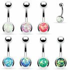 Opal Glitter Belly Button Ring Navel Bar Surgical Steel Body Jewelry 14g