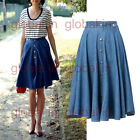 New Vintage Metal Button Denim Long Midi Pleated Swing A-line Line flared Skirt