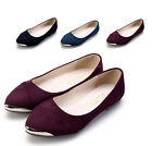 New Womens Flats Loafers Comforts Light Faux Suede Metal Pointed Tip Shoes