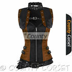 Steampunk Overbust Gothic Full Steel Bone Black Brown Satin Bolero Jacket Corset