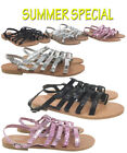 Flat Gladiator Fancy Summer Sandals Shoes Strappy Black Beach Womens Ladies 3-8