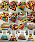 MULTI COLOURED FUNKY BRIGHT MODERN THICK SOFT HEAVY AREA RUG RUNNER MAT ROUND