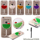 Wine Glass Flowing Liquid Fruit Clear Hard Back Cover Case For iphone 5 5S 6 6+