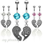 """Pair of """"Best Friend"""" Charm Pendent CZ Surgical Steel Navel Belly Button Ring"""