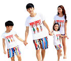 New Summer family clothes outfit beaches Girl Boy sets cotton t shirt + Shorts