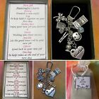 Good Luck In Your New JOB Meaningful Keepsake Key Ring Charm Gift Boxed Rhymes