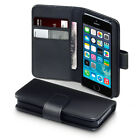 Synthetic Black Leather Case Flip Wallet Cover For iPhone 4 4S 5 5S 5C 6 6S Plus
