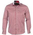 Guide London Mens Long Sleeve LS73471 Shirt Stripe Patterned Shirt Burgundy