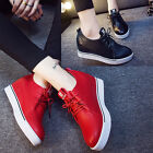 Fashion Womens Ankle Boots Wedge Platform Heels Lace up sneakers Casual shoes