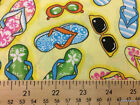 Flip Flops Summer Beach Sandals Shoes Sunglasses Yellow Cotton Fabric w8/28